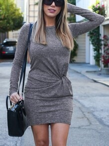 Grey Knotted Front Bodycon Dress