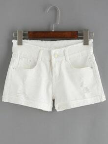 Ripped Frayed Cuffed Denim White Shorts