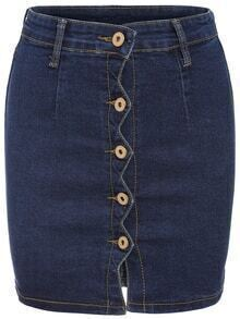 Single Breasted Denim Bodycon Skirt