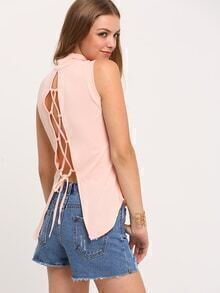 Pink Lace Up Back Mock Neck T-Shirt