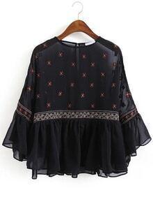 Bell Sleeve Embroidered Ruffle Chiffon Shirt