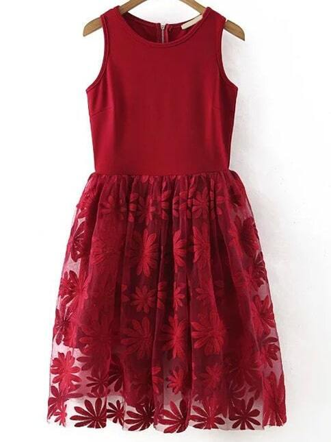 Robe Rouge évasée Robe Evasee Tournesol Brode Sans Manche Rouge French Romwe