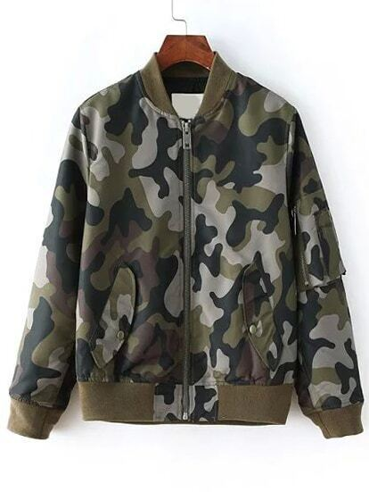 Camo Pockets Bomber Jacket