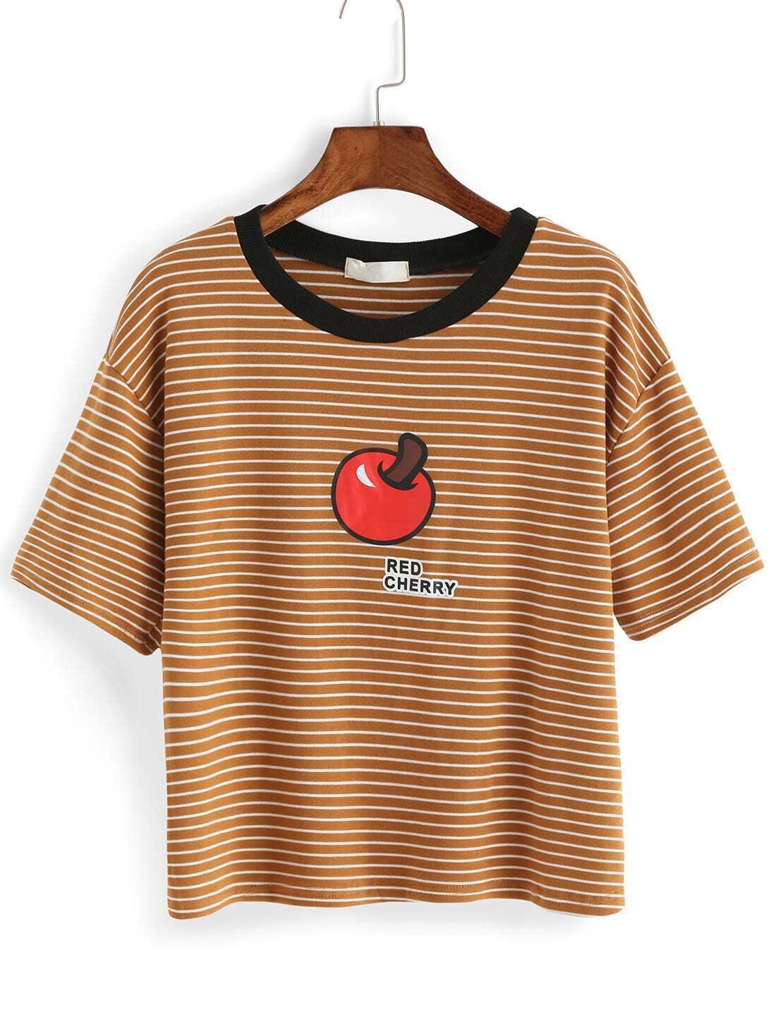 Striped Apple Print Khaki T-shirtFor Women-romwe