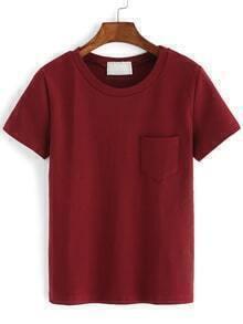 Crew Neck Pocket Burgundy T-shirt