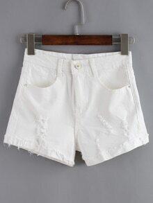 Ripped Denim White Shorts