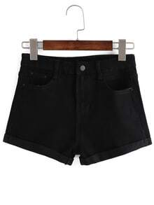 Cuffed Denim Black Shorts