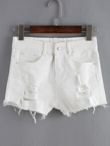 Frayed Ripped Denim White Shorts