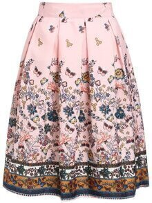 Florals Elastic Waist A-Line Skirt