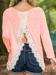 Pink Contrast Lace Slit Back T-Shirt