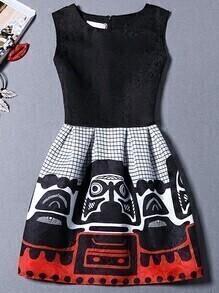Aztec Print Jacquard Black A-line Dress