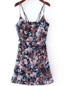 Florals Cut Out Navy Cami Dress