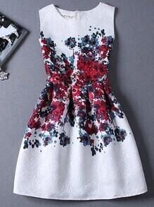 Florals Jacquard Red A-line Dress