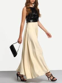 Black Apricot Sequined Splicing Flare Maxi Dress