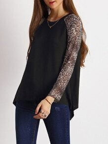 Black Contrast Raglan Sleeve T-Shirt