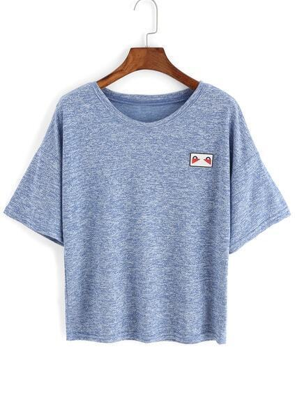 T-Shirt mit Patch - blau