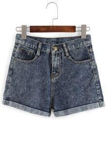 Cuffed Snowflake Denim Shorts