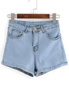 Cuffed Washed Blue Denim Shorts