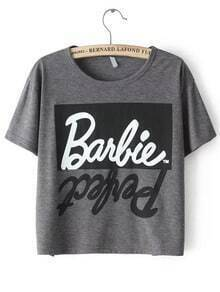 Letters Print Crop Grey T-shirt