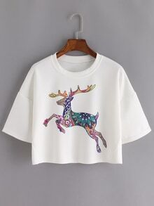 Deer Print Crop White T-shirt