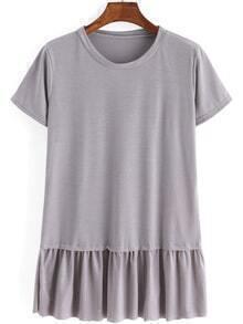 T-Shirt rundhals kurzarm mit Rüschen - grau