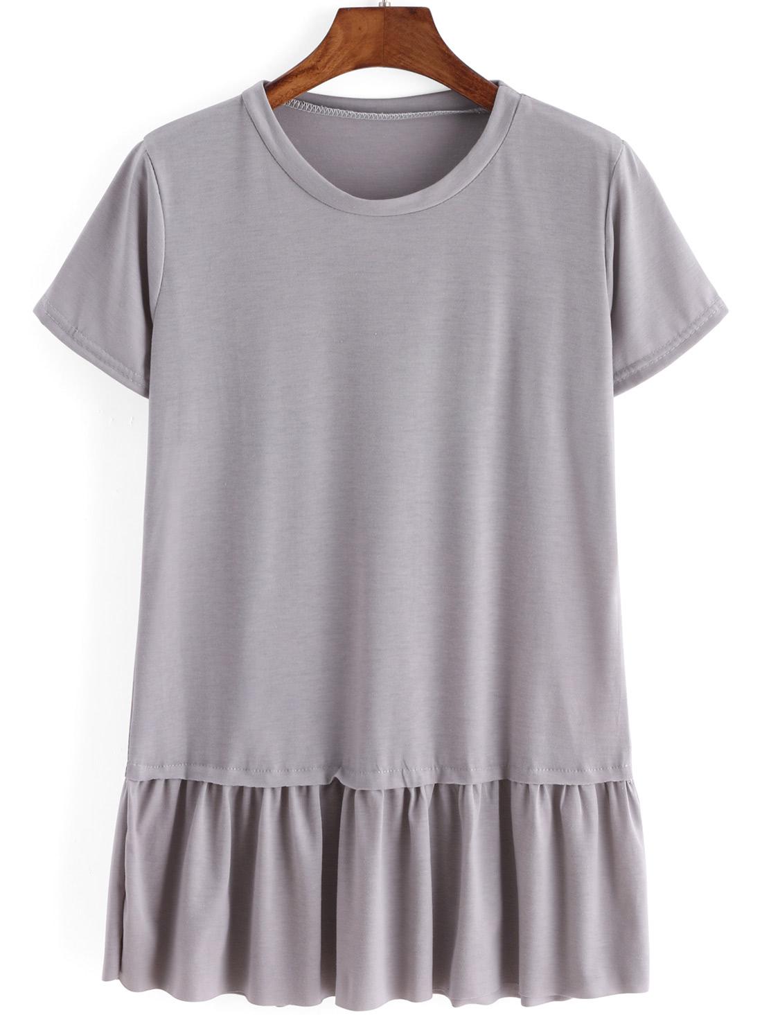 Ruffle Hem Grey T-shirt