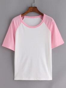 Contrast Raglan Sleeve Pink White T-shirt