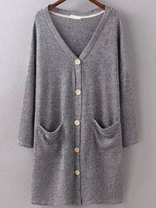 Buttons Pockets Long Pale Grey Cardigan