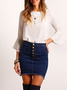 Navy Buttons Bodycon Denim Skirt