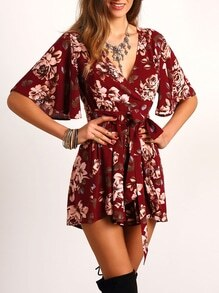 Red V Neck Floral Tie Waist Jumpsuit