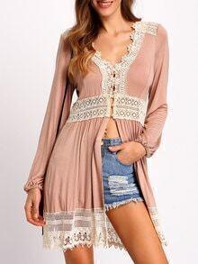 Pink V Neck Long Sleeve Lace Blouse