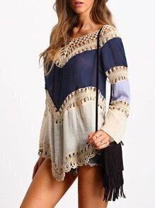 Top hueco crochet suelto -color combinado