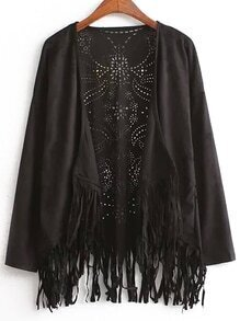 Black Long Sleeve Hollow Tassel Kimono