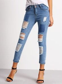 Pantalon en denim effet déchiré avec poche -bleu