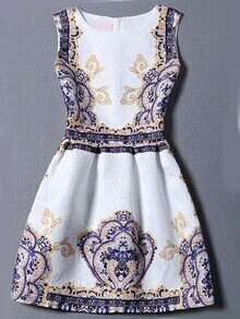 Multicolor Sleeveless Vintage Print Jacquard Dress