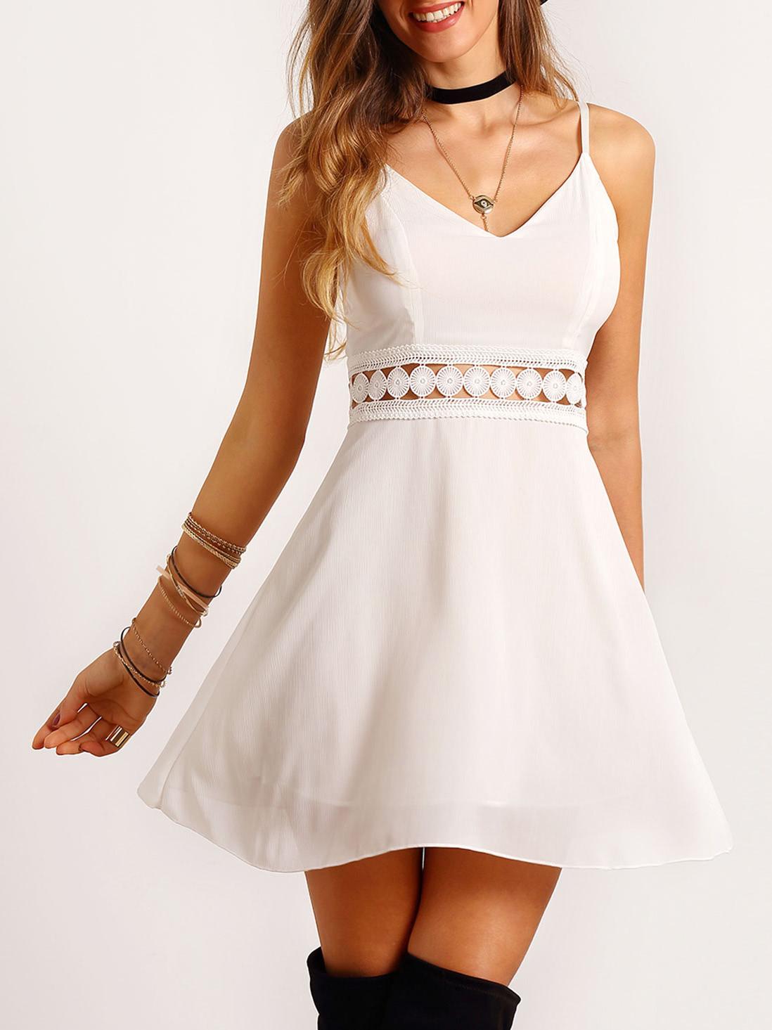 White Spaghetti Strap Lace Slim Dressfor Women Romwe