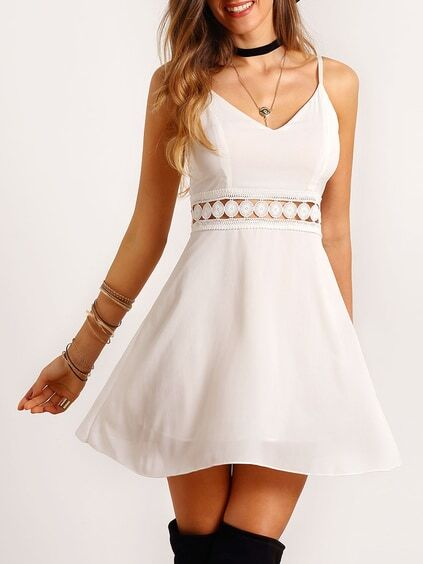 White Spaghetti Strap Lace Slim Dress