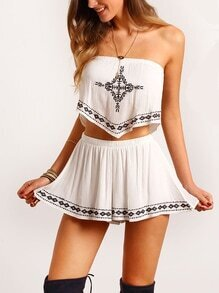 White Strapless Embroidered Ruched Top With Shorts