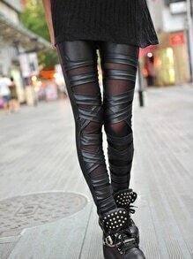 Cross Double Layers PU Leggings