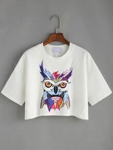 Crop T-Shirt kurzarm mit Cartoon Druck -weiß