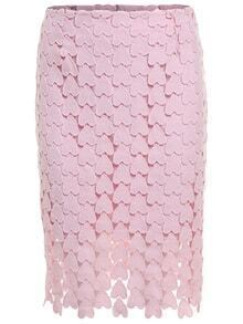 Heart Shaped Lace Pencil Pink Skirt