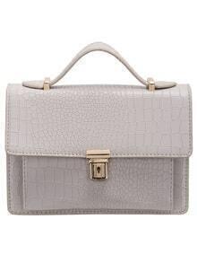 Grey Crocodile PU Chain Bag