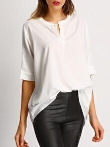 White V Neck Loose Blouse