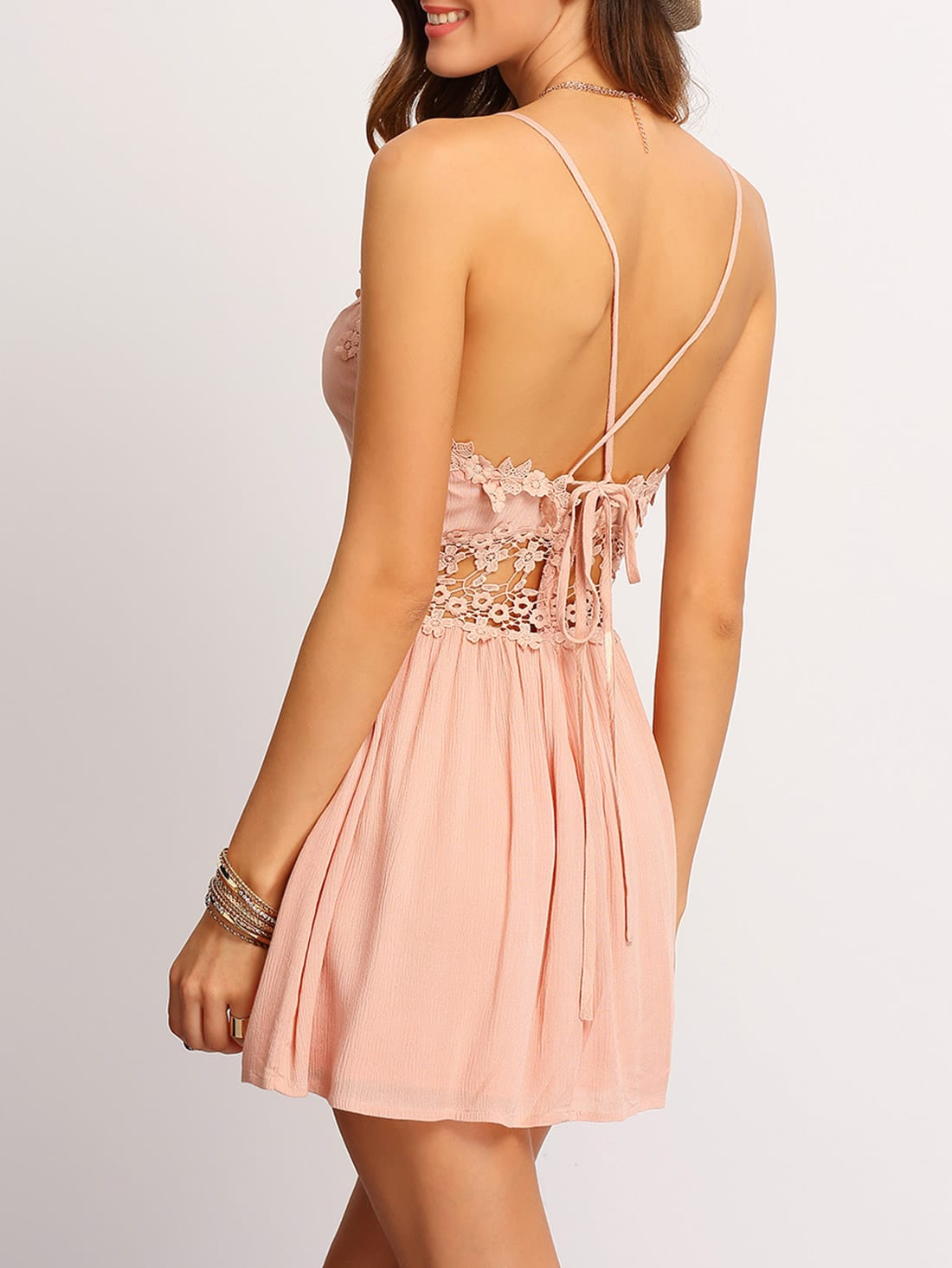 Crisscross Back Hollow Out Lace Up Dress