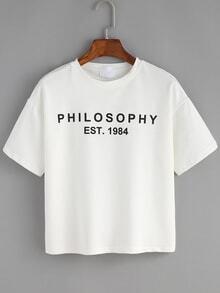 T-shirt imprimé lettres manche courte -blanc