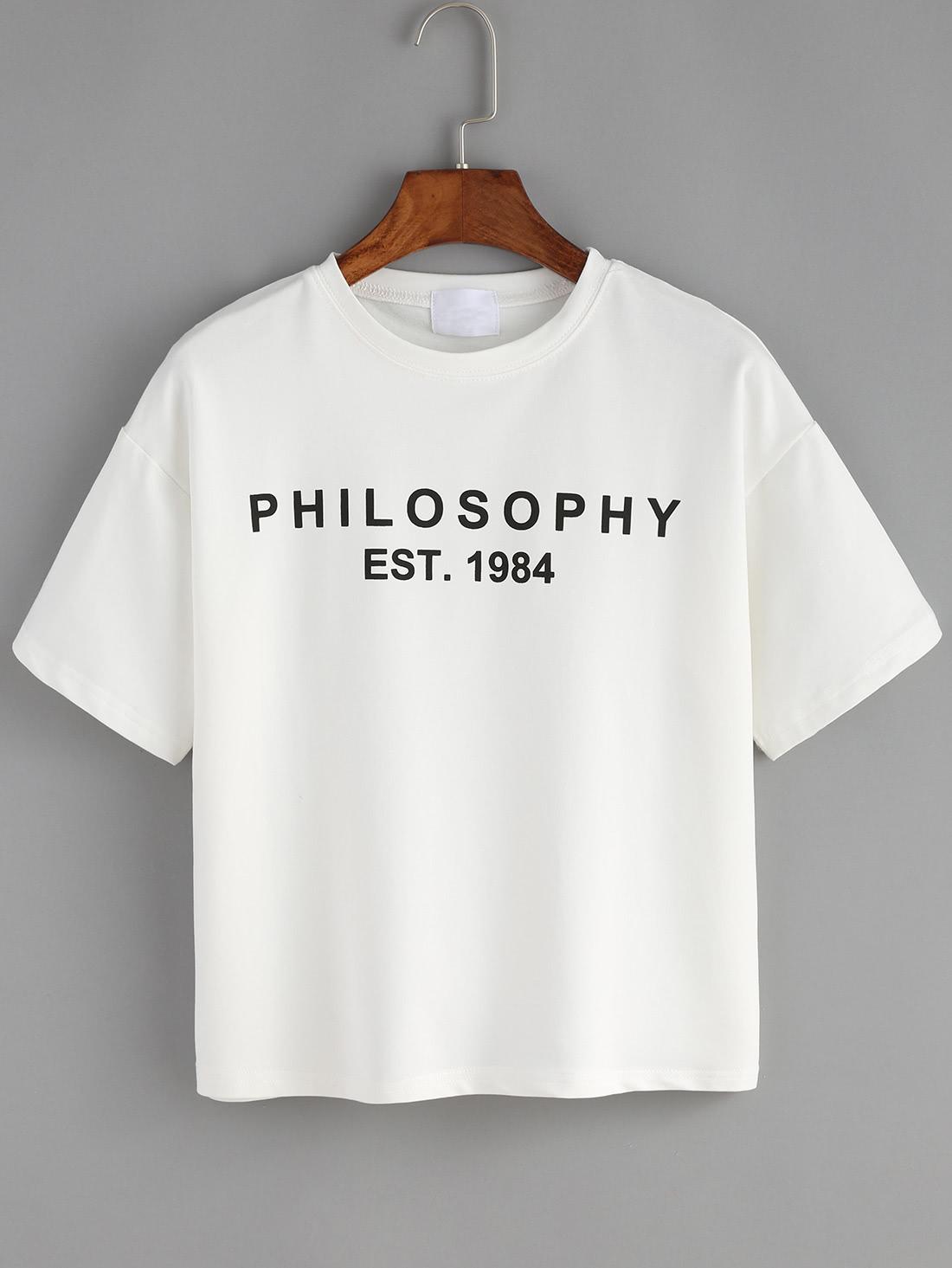 Letter Print White T Shirt