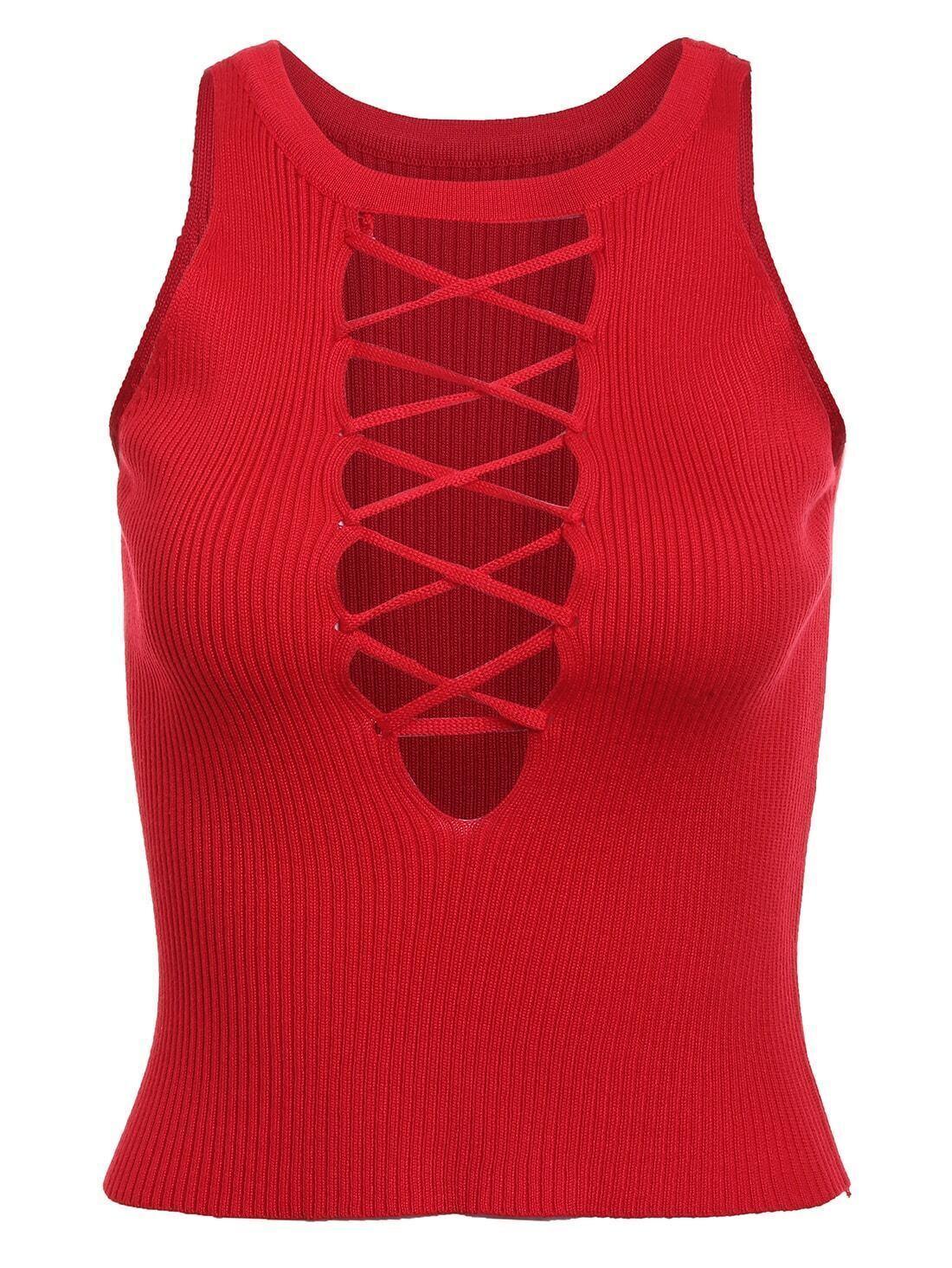 Top lac sur le devant sans manche rouge french romwe for Interieur paupiere inferieure rouge