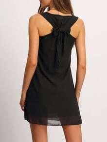 Vestido sin manga gasa lazo