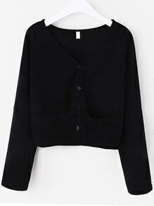 Black Dropped Shoulder Seam Cardigan With Pockets