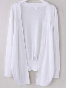 White Asymmetrical Ruched Cardigan
